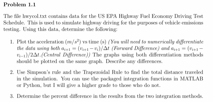 Problem 1 1 The File Hwycol txt Contains Data For