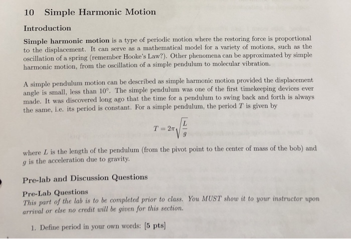 Solved: 10 Simple Harmonic Motion Introduction Simple Harm