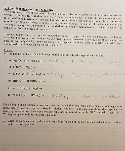 Solved: V. Chemical Reactions And Solubility There Are Man ...