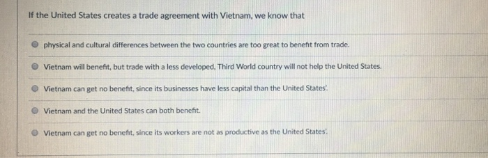 Solved if the united states creates a trade agreement wit if the united states creates a trade agreement with vietnam we know that o physical platinumwayz