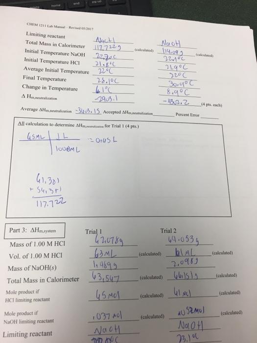 Chemistry laboratory manual answer key