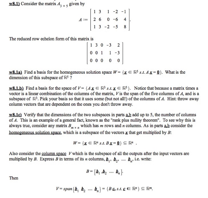 Solved: W8 l Consider The Matrix A, X S Given By 1 3 -2 1