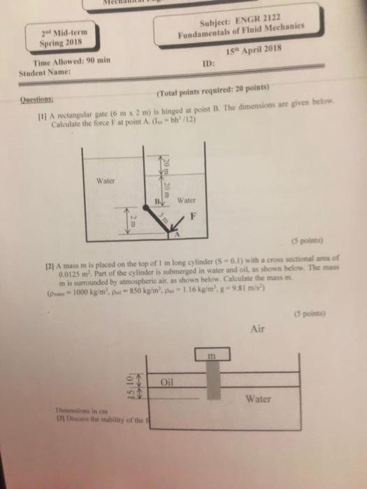 Solved: Subject: ENGR 2122 Fundamentals Of Fluid Mechanics