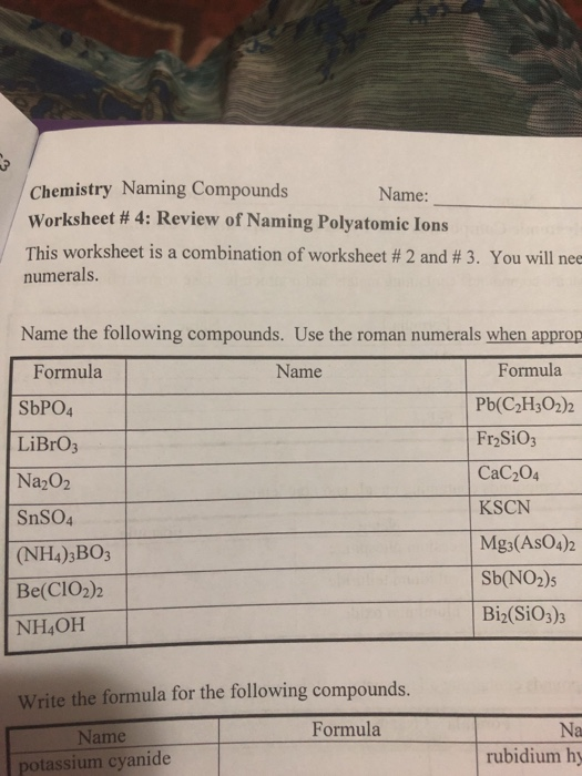 Solved Chemistry Naming Compounds Worksheet 4 Review O
