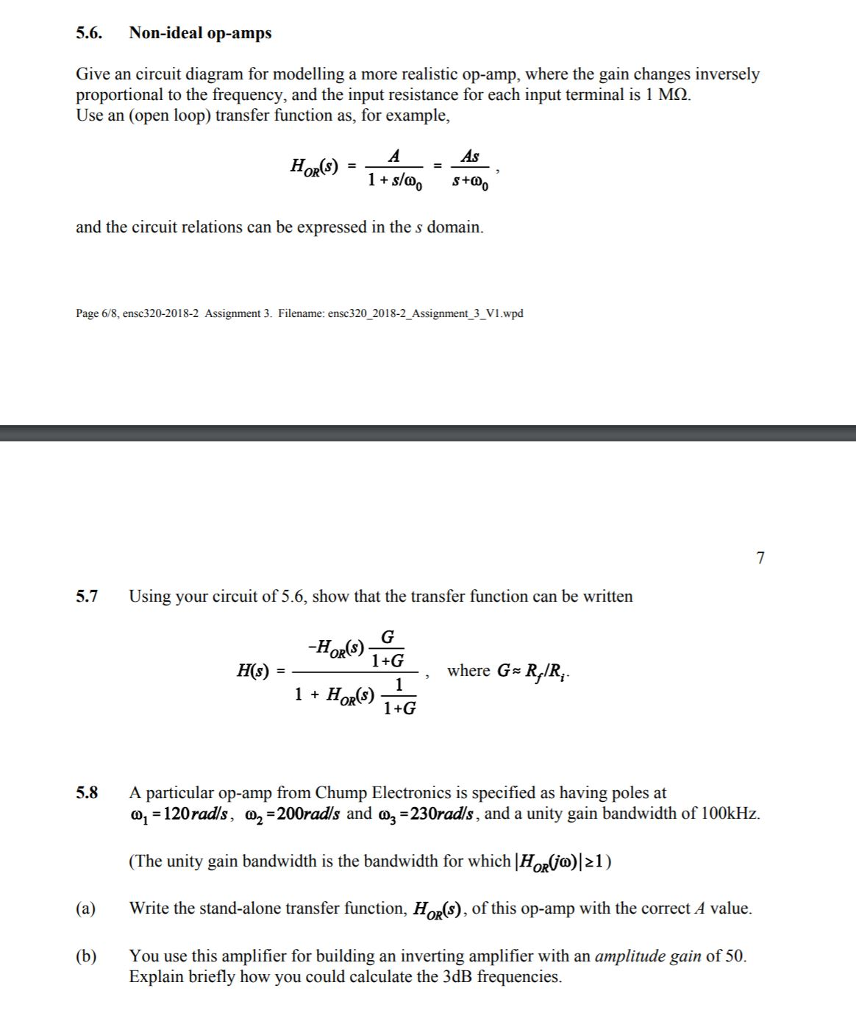 Solved 56 Non Ideal Op Amps Give An Circuit Diagram For Of Amp Modelling A More