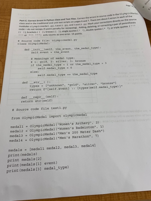 Solved: PRBE Errors In Python Class And Test Filles  Corre