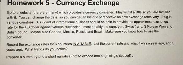 Homework 5 Currency Exchange Go To A Website There Are Many Which Provides