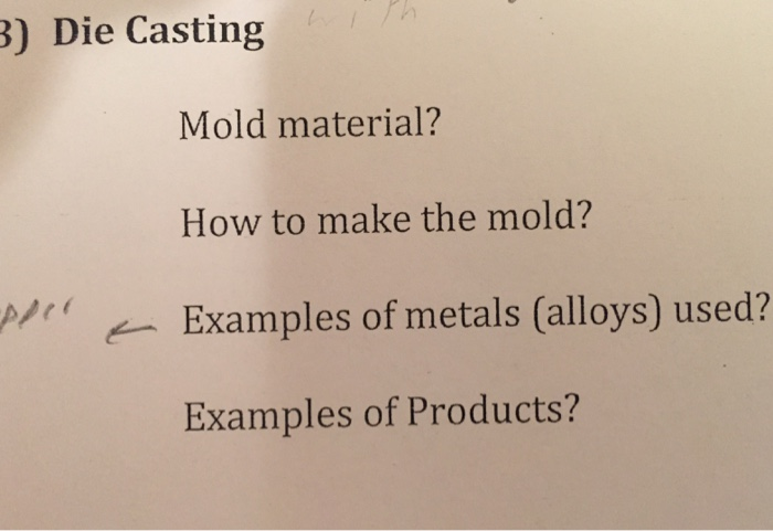 Solved Mold Material How To Make The Mold Examples Of M