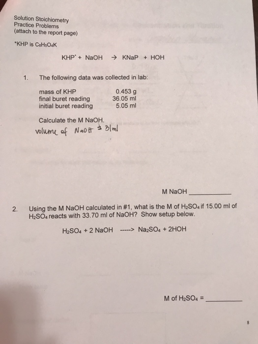 solution stoichiometry practice problems