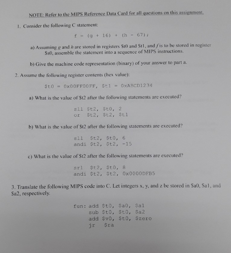 Solved Note Refer To The Mips Reference Data Card For Al