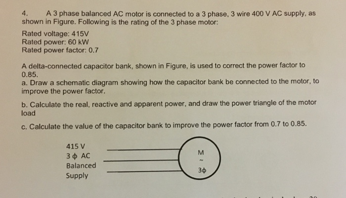 ac wire diagram bank solved a 3 phase balanced ac motor is connected to a 3 ph  3 phase balanced ac motor is connected