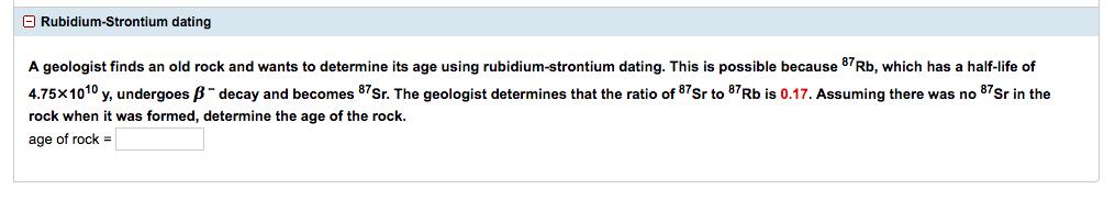 Rubidium strontium dating halfwaardetijd VAE online dating site