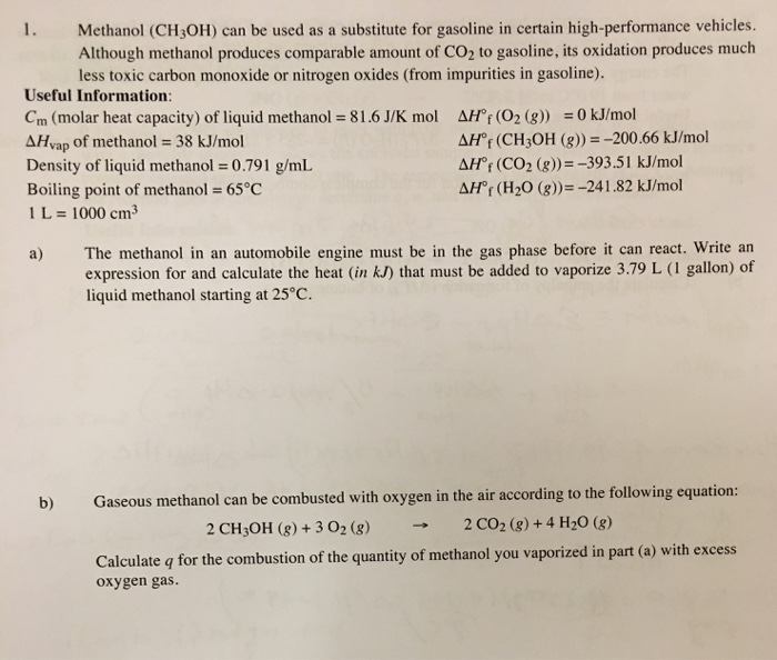 Methanol Ch3oh Can Be Used As A Subsute For Gasoline In Certain High