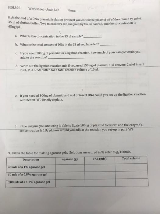 Solved Biol395 Worksheet Actin Lab Name 8 At The End O