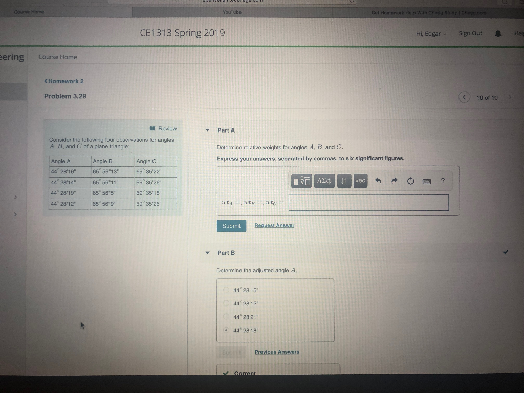 Solved: Course Home Lp With Chegg Study CE1313 Spring 2019