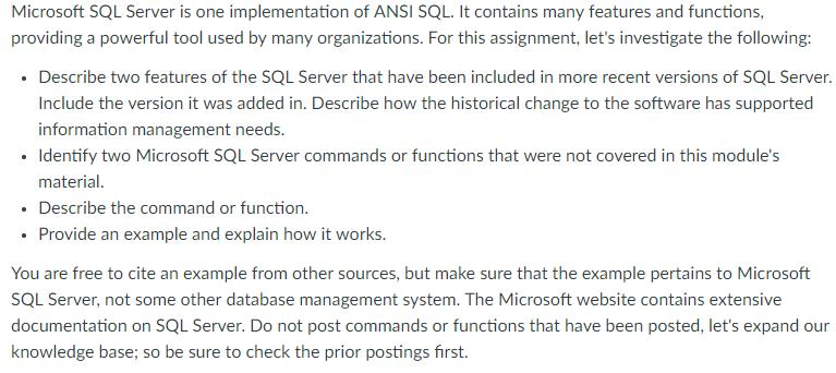Solved: Microsoft SQL Server Is One Implementation Of ANSI