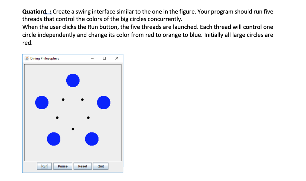 Quation1create A Swing Interface Similar To The One In Figure Your Program Should Run
