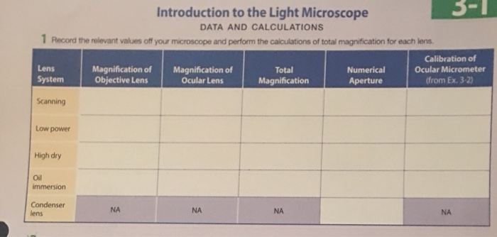 3 1 Introduction To The Light Microscope DATA AND CALCULATIONS Record The  Relevant Values Off