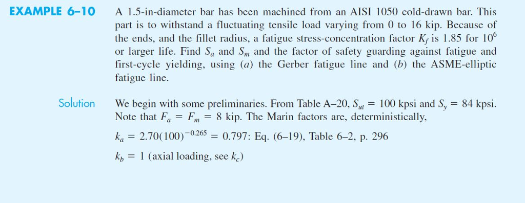 EXAMPLE 6-10 A 1.5-in-diameter bar has been machined from an AISI 1050 cold-drawn bar. This part is to withstand a fluctuating tensile load varying from 0 to 16 kip. Because of the ends, and the fillet radius, a fatigue stress-concentration factor Ky is 1.85 for 106 or larger life. Find Sa and Sn and the factor of safety guarding against fatigue and first-cycle yielding, using (a) the Gerber fatigue line and (b) the ASME-elliptic fatigue line. Solution We begin with some preliminaries. From Table A-20, S 100 kpsi and S, 84 kpsi. Note that FaFm- 8 kip. The Marin factors are, deterministically ka 2.70(100.797: Eq. (6-19), Table 6-2, p. 296 1 (axial loading, see ke)