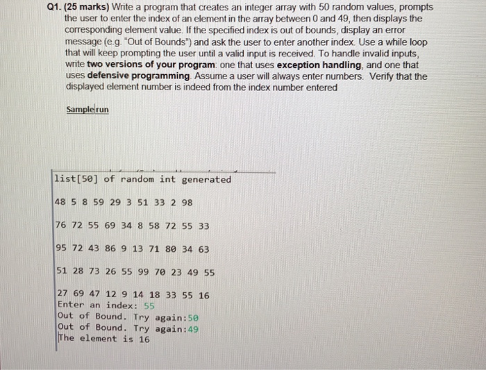 Q1 25 Marks Write A Program That Creates An Integer Array With 50