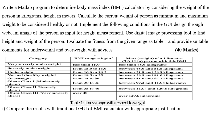 Solved: Write A Matlab Program To Determine Body Mass Inde