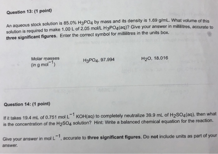 Solved Question 13 1 Point An Aqueous Stock Solution I