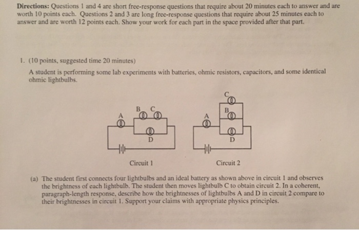 Solved: Directions: Questions 1 And 4 Are Short Free-respo