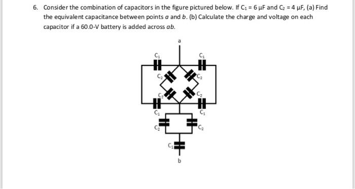 Consider the combination of capacitors in the figure pictured below. If C1-6 μF and C2 = 4 the equivalent capacitance between