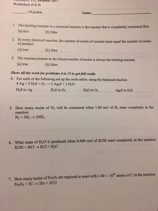 Solved Worksheet Ch 9 10 Points Name 1 The Limiting R