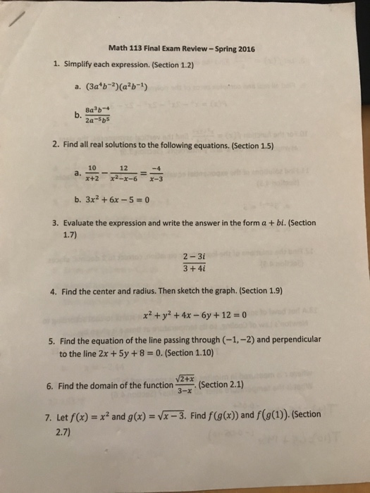Solved: Math 113 Final Exam Review-Spring 2016 1  Simplify