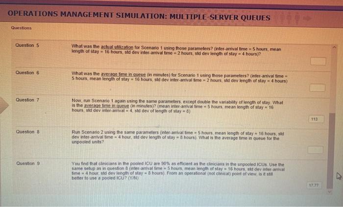 Solved: OPERATIONS MANAGEMENT SIMULATION: MULTIPLE SERVER