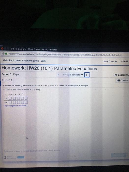 Solved: Do Homework - Mark Dover - Mozilla Firefox ⓘ Https
