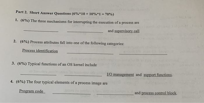 Solved: Part 2  Short Answer Questions (6%* 10 10%*1 = 70