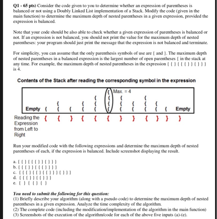Solved Q1 65 Pts Consider The Code Given To You To Dete