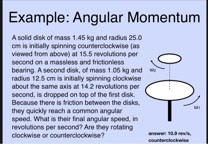Solved Example Angular Momentum A Solid Disk Of Mass 1 4