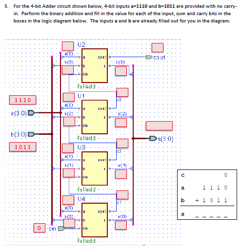 Solved: 5. For The 4-bit Adder Circuit Shown Below, 4-bit ... on 8 bit adder diagram, 4 bit multiplier diagram, 3 bit adder diagram, 1 bit adder diagram, 2 bit adder diagram,
