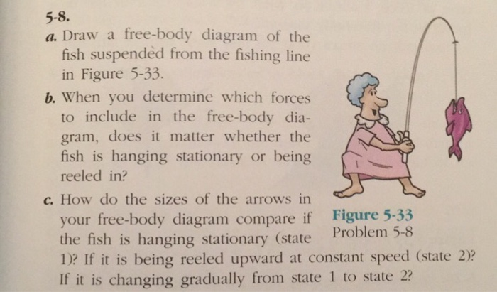 Solved 5 8 A Draw A Free Body Diagram Of The Fish Suspe