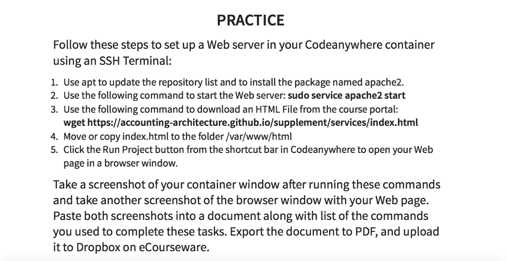 Solved: PRACTICE Follow These Steps To Set Up A Web Server