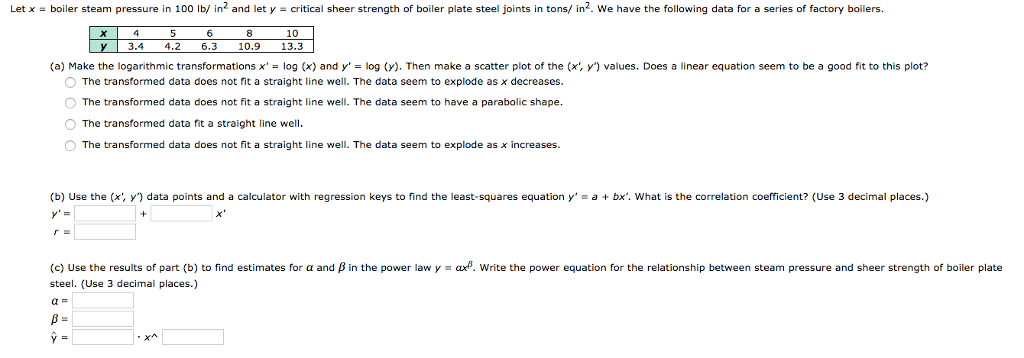Solved: Let X = Boiler Steam Pressure In 100 Lb/ In2 And L ...