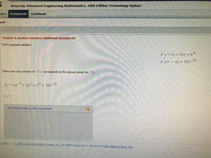 Solved: Kreyszig, Advanced Engineering Mathematics, 10th E