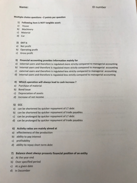 Solved: ID Number Name: Multiple Choice Questions-2 Points