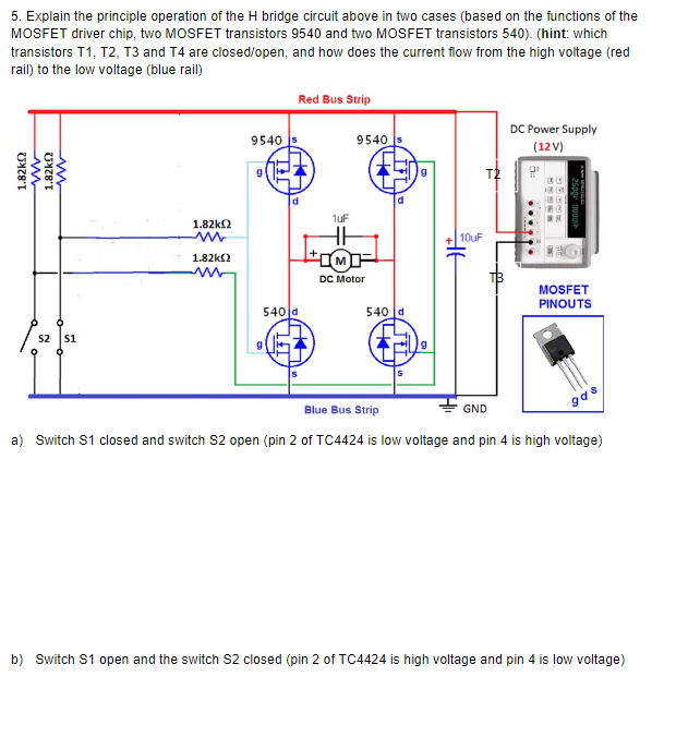 solved 5 explain the principle operation of the h bridge