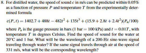 Solved: 8  For Distilled Water, The Speed Of Sound C In M