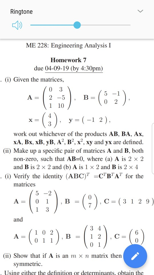 Solved: Ringtone ME 228: Engineering Analysis I Homework 7