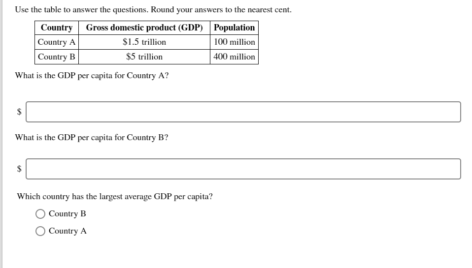 Economics recent questions chegg use the table to answer the questions round your answers to the nearest cent country fandeluxe Choice Image