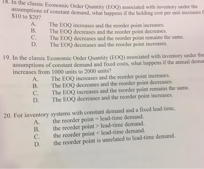 Economic order quantity essay