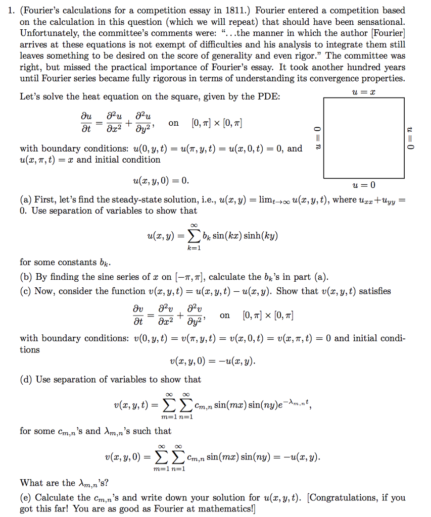 Solved  Fouriers Calculations For A Competition Essay  Fouriers Calculations For A Competition Essay In  Fourier Entered A How To Write A Good Thesis Statement For An Essay also Research Essay Topics For High School Students  Essay On Business Communication
