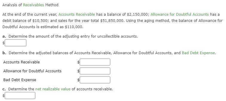 a debit balance in the allowance for doubtful accounts