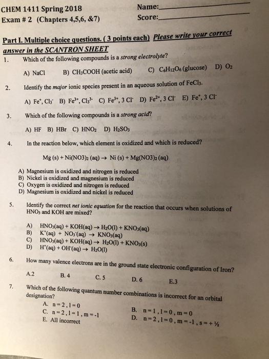 Solved: CHEM 1411 Spring 2018 Exam # 2 (Chapters 4,5,6, &7