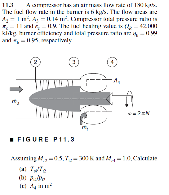 Solved: 11 3 A Compressor Has An Air Mass Flow Rate Of 180
